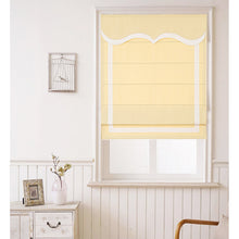 Quick Fix Washable Roman Window Shades Flat Fold with Valance, SG-012 Yellow with White trim
