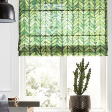 Quick Fix Washable Roman Window Shades Flat Fold,  Rows of Leaves