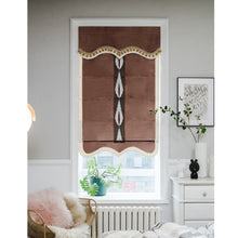 Valance,Custom Classic roman shade made, washable velvet flat and fold with cord, Coffee brown,SG-103