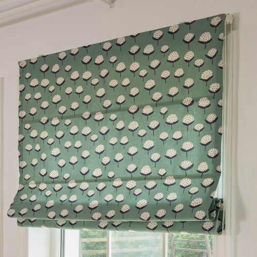 Quick Fix Washable Roman Window Shades Flat Fold, Green Cotton