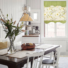 Quick Fix Washable Roman Window Shades Flat Fold with Valance, SG-155 Green Leaves and Yellow Flowers