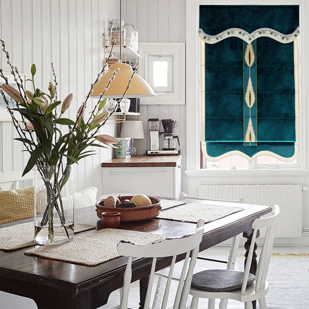 Valance,Custom Classic roman shade made, washable velvet flat and fold with cord, emerald,SG-102