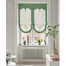 Valance,Custom Classic roman shade,With embroidery washable linen fabric flat and fold with cord, white with green trim,SG-073