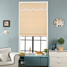 Valance,Classic roman shade, custom made, washable Cotton and linen fabric flat and fold with cord, yellow.SG-088