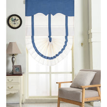 Valance,Custom Classic roman shade made, washable Cotton linen with blue trim on white background and fold with cord,SG-138