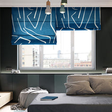 Quick Fix Washable Roman Window Shades Flat Fold, Blue Line