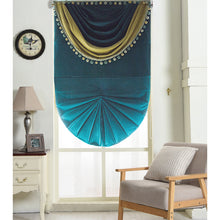 Valance,Custom Classic roman shade made, washable velvet flat and fold with cord, Malachite green,SG-123