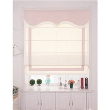 Quick Fix Washable Roman Window Shades Flat Fold with Valance SG-006 White with Pink Trim