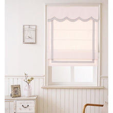 Quick Fix Washable Roman Window Shades Flat Fold with Valance, SG-004 Pink with Gray Trim