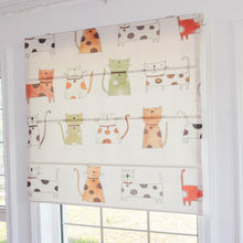 Quick Fix Washable Roman Window Shades Flat Fold, Cats Love