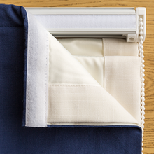 Quick Fix Washable Roman Window Shades Flat Fold with Valance, SG-019 Navy Blue Stripe