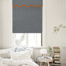 Valance, Custom Classic Roman Shade made, washable Three-dimensional flannelette flat and fold with cord, Dark Grey