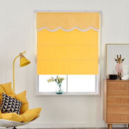 Valance, Custom Classic roman shade made, washable Three-dimensional flannelette flat and fold with cord, Yellow