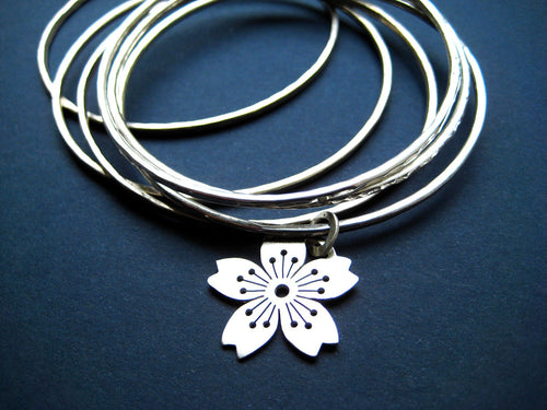 Sterling Silver Sakura No.3 Charmbangle