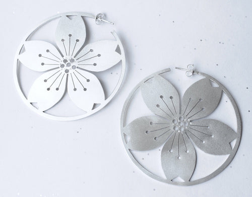 Big Sterling Silver Sakura Hoops