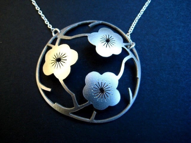 The Three Sakuras  in Sterling Silver (Large)