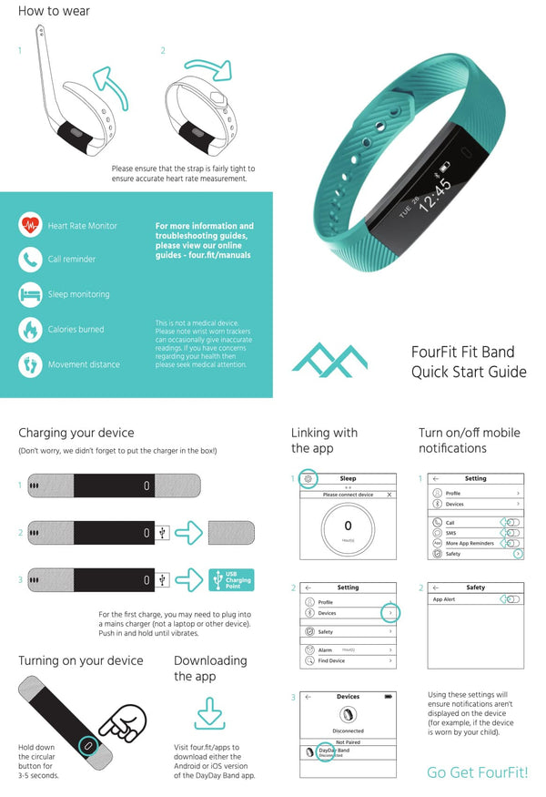 fourfit mini manual for kids fitness tracker