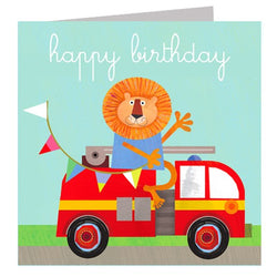 Lion Fire Engine Happy Birthday