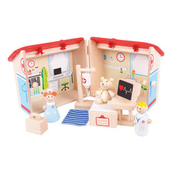 Mini Wooden Hospital Playset by Bigjigs