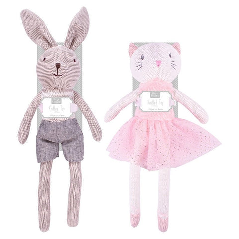 Knitted Baby Bunny and Knitted Baby Cat Soft Toy