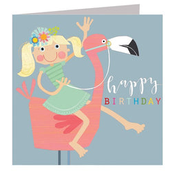 Glittery flamingo birthday card