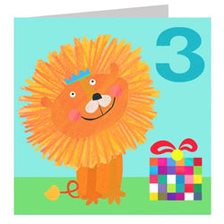 Age 3 Lion Birthday Card