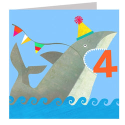Age 4 Shark Birthday Card