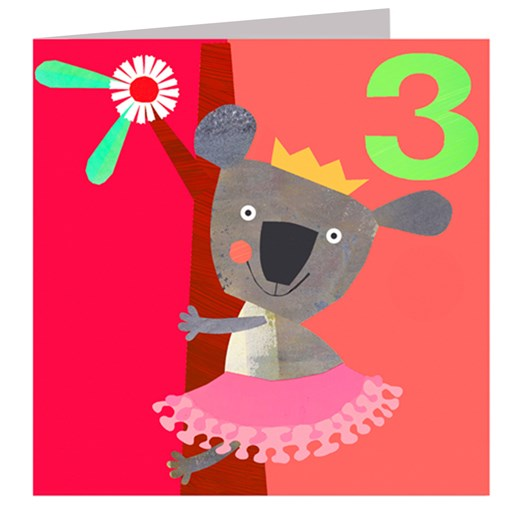 Age 3 Koala Birthday Card