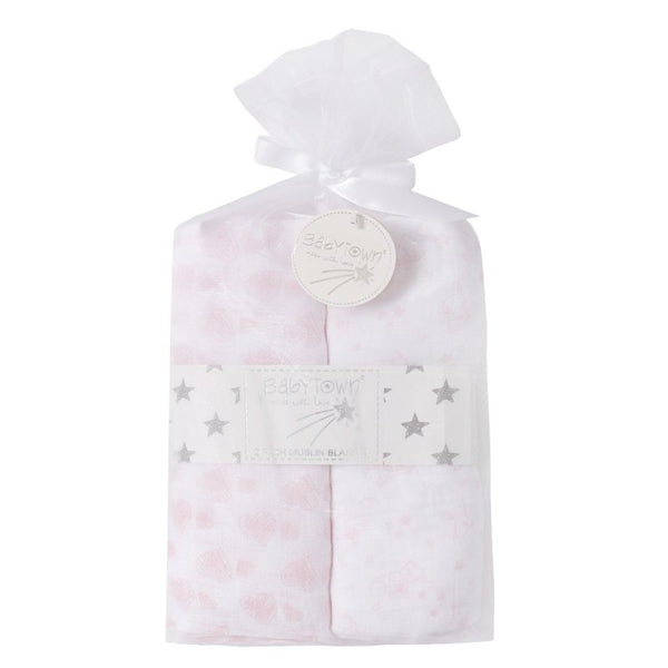 Baby Muslin Blankets Pack 2 in Pink Gift Bag