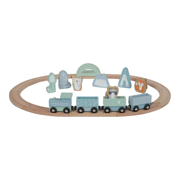Little Dutch Blue Wooden Train Set