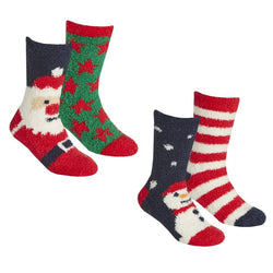 Christmas Cosy Socks With Grippers (Pack of 2)