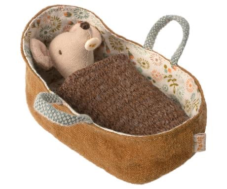 Maileg Baby Mouse & Carrycot