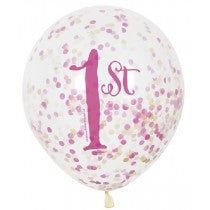"12"" Clear Pink/Gold 1st B/Day Balloons"