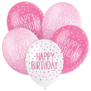 Pink Happy Birthday Balloons