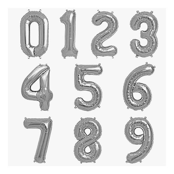 32 inch numeral silver foil balloons