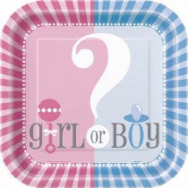 9IN GENDER REVEAL SQUARE PLATES