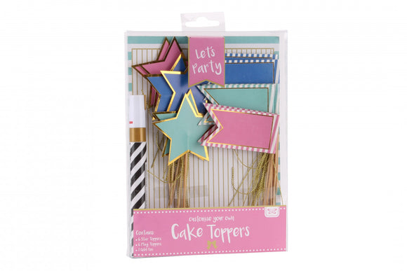 Star Party Customisable Cake Topper Set and Gold Pen
