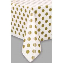 GOLD DOTS PLASTIC TABLECOVER