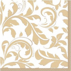 GOLD ELEGANT SCROLL L/NAPKINS