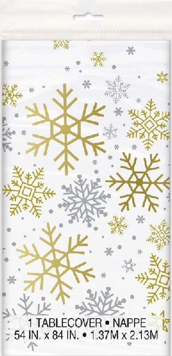 SILVER & GOLD SNOWFLAKE TABLECOVER