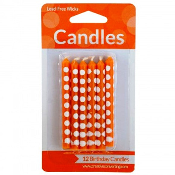 Orange Polka Dot Candles