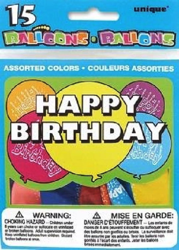 15Pk Happy Birthday Balloons