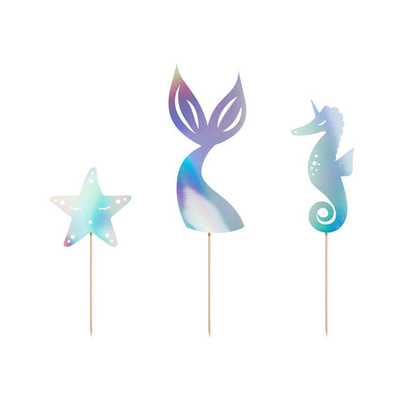 mermaid party cake topper