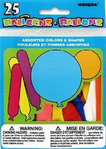 25Pk Assorted Shape Balloons