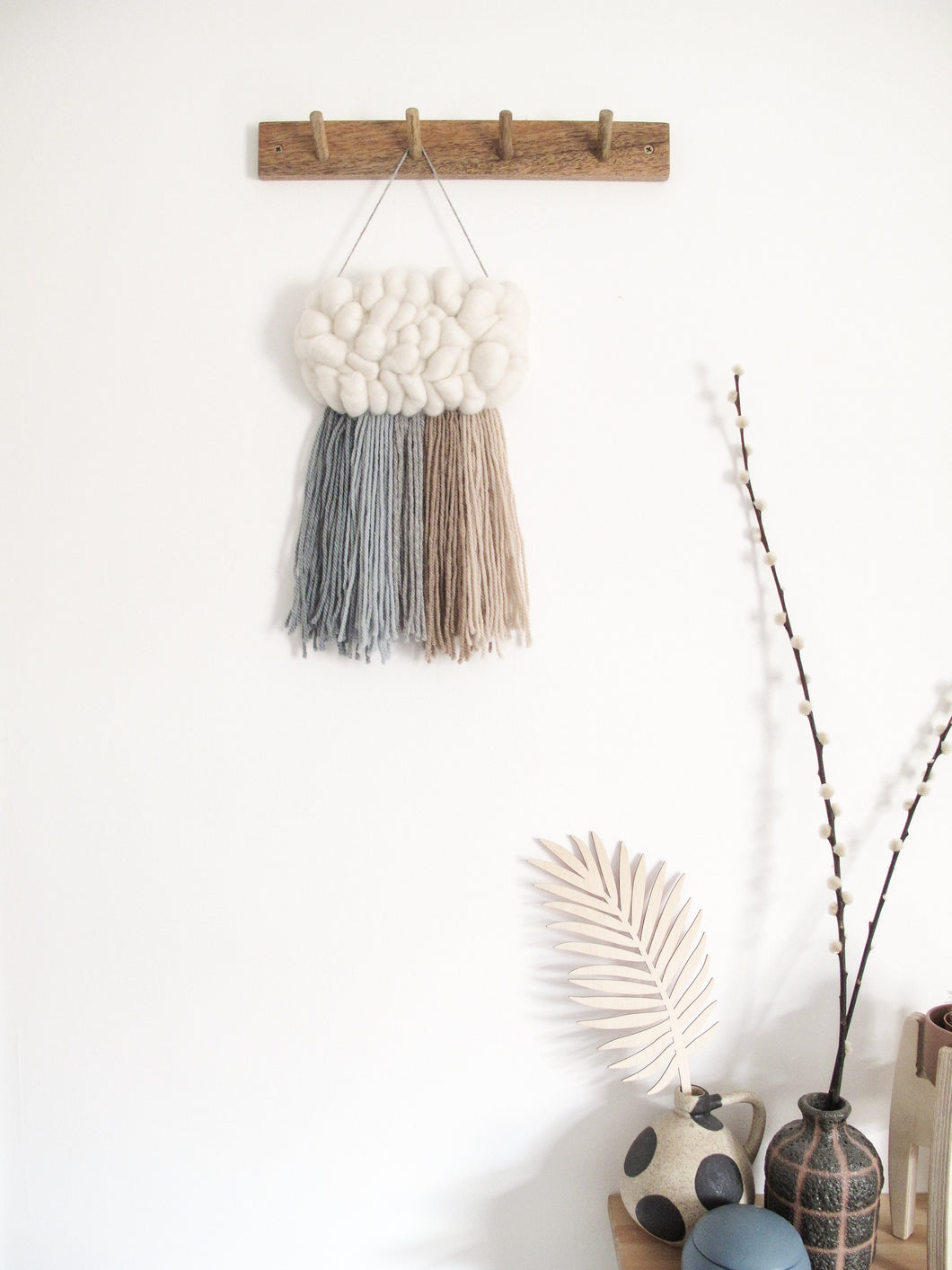 Mini Cloud Woven Wall Hanging in Soft Blue Rainbow