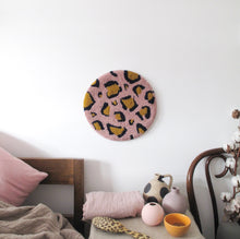 Fibre Wall Art In Pink/Navy/Mustard Small Leopard