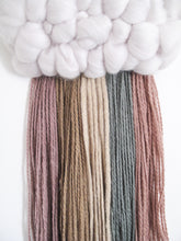 Mini Cloud Woven Wall Hanging in muted tones and soft gold Rainbow