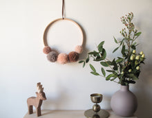 Small Pom Pom Wreath in Dusky Peaches Mix