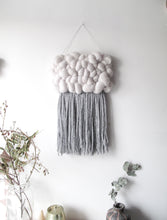 Mini Cloud Woven Wall Hanging in Grey and Silver Sparkle