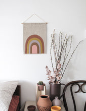 Retro Rainbow Linen Wall Banner in Warm Rust